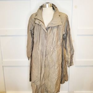 Eileen Fisher Long Crinkle Anorak Jacket Lagenlook